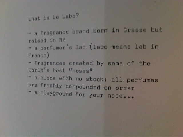 The writing on the wall (literally) explaining the Le Labo ethos